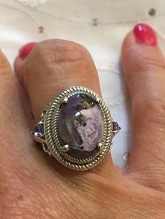 e220a9aea ON SALE Vintage Karis .925 Sterling Silver Filigree Agate Amethyst Tear  Drop Accent Ring Size 5.5