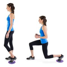 Gliding Reverse Lunge: Reverse lunges are especially good for you if you have bad knees and the gliders will help too! Running Workouts, Easy Workouts, Fitness Workouts, Fitness Motivation, Slider Exercises, Body Exercises, Bridge Workout, 80 Day Obsession, Leg Training