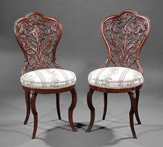 ~ American Rococo Laminated Rosewood Slipper Chairs, c. 1860, New York ~ liveauctioneers.com