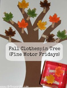 Fine Motor Ideas using leaves and clothespins