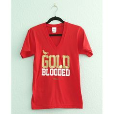 "Adapt | ""Gold Blooded"" V-Neck Tee Red ""Gold Blooded"" v-neck tee from the Gold Blooded collection by Adapt. Love my Niners, but I just got the black hoodie version of this, which is more practical for me, so I'm letting this go. Worn twice. Still in brand-new condition. No fading. Spots on graphic are intentional & part of the design. Size small, TTS. NO TRADES. PRICE FIRM. Adapt Tops Tees - Short Sleeve"