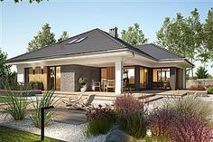 Bungalow House design with attic Miriam V, area with a spacious garage, with an envelope ro Bungalow House Plans, Dream House Plans, Modern Bungalow Exterior, Beautiful House Plans, Village House Design, Model House Plan, Facade House, Home Fashion, Modern House Design
