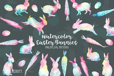 Watercolor Easter Bunnies Abstract by Corner Croft on @creativemarket