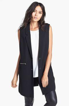 Modernize your workwear with a cool sleeveless blazer, like this Leith Rebellion… Sleeveless Blazer Outfit, Black Vest Outfit, Long Vest Sleeveless, Sleevless Blazer, Vest Outfits For Women, Work Dresses For Women, Clothes For Women, Work Clothes, Workwear