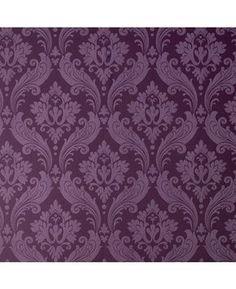 30-382 Kelly Hoppen Vintage Flock Purple Damask Wallpaper   Graham & Brown