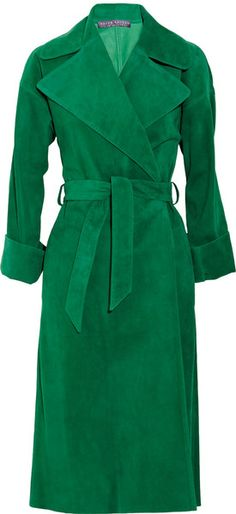 Ralph Lauren Collection Leah Suede Coat in Green | Lyst