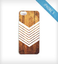 Dark Wood + Chevron iPhone 5 Case
