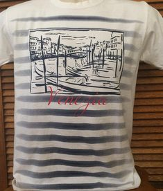 Adult Small Venezia Venice Italy T shirt Nautical Striped Blue Crew Neck  Souvenir Tourist Travel Shirt 08629eb74