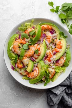 This low-carb/keto Shrimp Avocado Salad is made with only a few simple ingredients with a zesty lime olive oil dressing that adds a burst of fresh flavor! Shrimp Avocado Salad, Seafood Salad, Shrimp Salads, Avocado Salads, Cucumber Salad, Avocado Recipes, Salad Recipes, Healthy Recipes, Keto Avocado