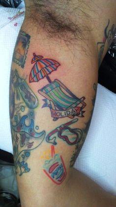 #TROPICAL #TATTOO #BLEACH PARASOL #YOKOHAMA #SLAPSTICK TATTOO Tropical Tattoo, Yokohama, Bleach, Tattoos, Tatuajes, Tattoo, Tattoo Illustration, Irezumi, A Tattoo