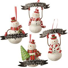 "RAZ Imports - 6"" Snowman With Banner Ornaments - Set of 4..."