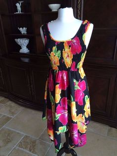Rima Black with Bold Tropical Flowers, Sun dress #RIMA #Sundress #SummerBeach