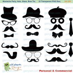 mustache clip art | Mustache clip art, digital Mustache clipart, Silhouette hat glasses ...