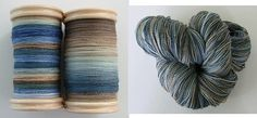 Fractal Spun Yarn - Two singles on the bobbin & the plied yarn. From dogloversyarn.blogspot.com