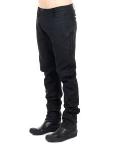 LOST&FOUND MAN Black hemp trousers belt loops asymmetric cut two front pockets two back pockets front button closure 100% Hemp