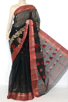 Black Red Handwoven Bengali Tant Cotton Saree (Without Blouse) 14118