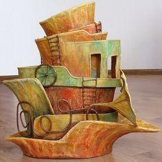 ship of imagination paper mache art- ok lynne get to work! Diy Paper, Paper Art, Paper Crafts, Cardboard Sculpture, Sculpture Art, Paper Mache Projects, Art Projects, Paper Ship, Paperclay