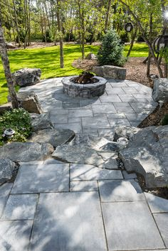 Belvedere Circle Firepit on Dimensional Flagstone patio. Fire Pit Gravel, Fire Pits, Fire Pit Materials, Outdoor Living, Outdoor Fire, Flagstone Patio, Precast Concrete, Home Projects, Sidewalk
