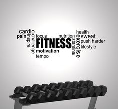 FITNESS GYM EXERCISE WORD CLOUD MODERN WALL STICKER VINYL ART MOTIVATION | Home, Furniture & DIY, Home Decor, Wall Decals & Stickers | eBay!