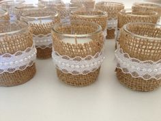 Votive candles wrapped in burlap with lace pearl by DesignsByHuuR, $15.00