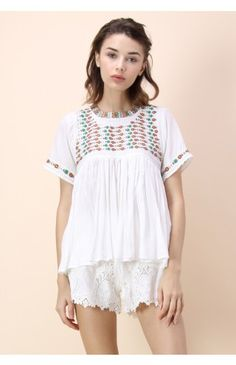 Folk Story Dolly Top in White - Embroidery Design - Trend and Style - Retro, Indie and Unique Fashion