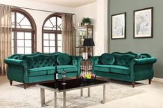 The Living Room Sofa is Made with Durable Wooden Frame, Finished in Velvet Fabric Upholstery with Wood Round Tapered Legs #frenchcountrysofa