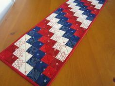 Patriotic Quilted Table Runner. Could easily be made for any holiday or season.