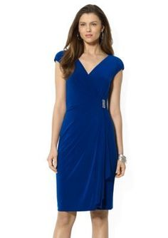 American Living  Evening Sky Ruffled Surplice Dress