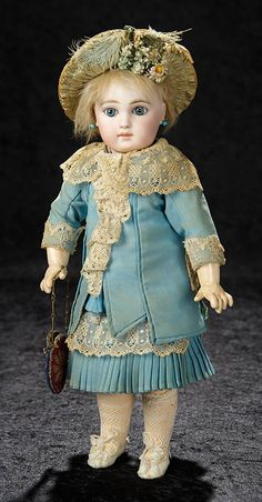 Bijoux - January 6-7, 2018 in Newport Beach, CA: 210 Gorgeous French Bisque Premiere Bebe, Size 4, by Emile Jumeau with Signed Shoes