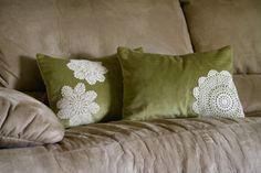 Becca's PaperCutz: Doily Pillows  For the living room... on navy velvet!