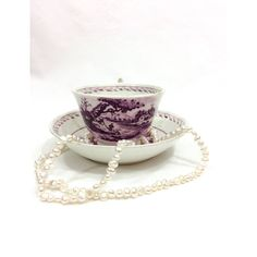 Antique Georgian Tea Cup and Saucer, English Tea Cup, Bowl Saucer,... ($38) ❤ liked on Polyvore featuring home, kitchen & dining, drinkware, net cup, bone china and boat cups