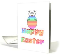 Happy Easter/ Easter Owl/Bird/Pastel/Egg card (1063269)