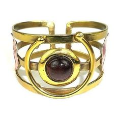"""Earthy Red Tiger Eye """"C"""" Brass Cuff - Brass Images (C)"""