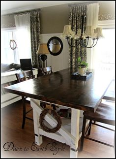 love the 2-tone table and the height - want something like this for the bar high breakfast nook