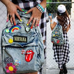 bag backpack denim nirvana hipster patches blue denim bag tie-dye backpack with patches of bands denim bookbags Grunge Outfits, Grunge Fashion, 90s Fashion, Street Fashion, Vintage Fashion, Fashion Outfits, Fashion Hats, Fashion Shoot, Urban Fashion