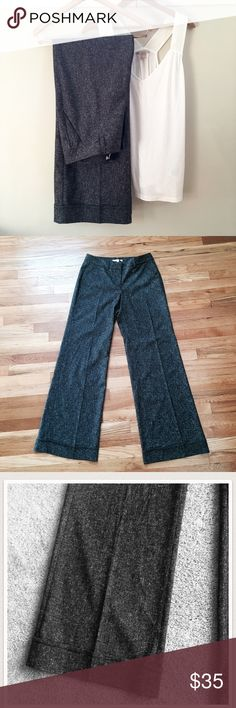 {Cabi} Black Tweed Faux Cuffed Wide Leg Trouser NWOT. 17 inch waist, 33 inch inseam. Great quality pant would be worth hemming if too long! CAbi Pants Trousers
