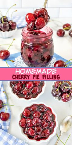Homemade Cherry Pie Filling - this homemade pie filling is made in minutes with just a few ingredients. This easy recipe is great in pastries and pies or on top of vanilla cheesecake. Recipes Using Fruit, Cherry Recipes, Tart Recipes, Homemade Cherry Pies, Homemade Pie, Easy No Bake Desserts, Dessert Recipes, Snack Recipes, Vanilla Bean Cheesecake