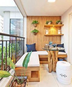 Wooden balcony furniture – Small balcony – Balcony ideas – Balcony design - All About Gardens Small Balcony Design, Small Balcony Garden, Small Patio, Balcony Ideas, Small Balconies, Narrow Balcony, Patio Ideas, Terrace Design, Balcony Bench