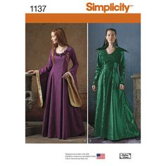 Simplicity Pattern 1137 Misses' Medieval Fantasy Costumes. misses' medieval fantasy costume features gown with contrast lower bell sleeves and flower details, full sleeveless dress with short, long sleeve jacket and unattached feather collar. andrea schewe for simplicity.  Sizes 14 thru 22.
