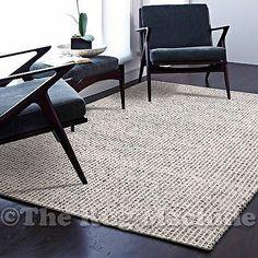 MALMO GREY HANDKNOTTED NATURAL WOOL SIMPLE MODERN FLOOR RUG 155x225cm **NEW** Wool Felt, Felted Wool, Beige, Grey, Shaggy, Floor Rugs, Moroccan, Flooring, Modern