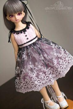 Dusty Pink lolita set for Mini Super Dollfie Volks Luts by kalcia