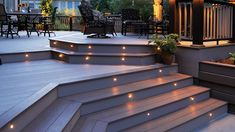 Are you looking for deck lighting ideas to transform your patio or backyard? Discover here how to transform your patio with alluring deck lighting ideas. Porch Lighting, Outdoor Lighting, Lighting Ideas, Deck Step Lights, Outdoor Deck Decorating, Patio Deck Designs, Deck Steps, Deck Pictures, Deck Railings