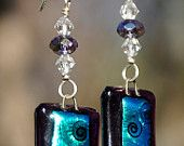 Purple and aqua fused glass and Swarovski crystal earrings with sterling silver wire.