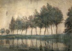 Piet Mondriaan, Rij bomen aan het gein 1907 - via www.Drentsmuseum.nl