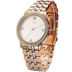 GEORGE SMITH Womens 38mm Elegant Roman Numerals Wrist Watch with Stainless Steel BandRose Gold Dial >>> Check this awesome product by going to the link at the image. (Note:Amazon affiliate link)