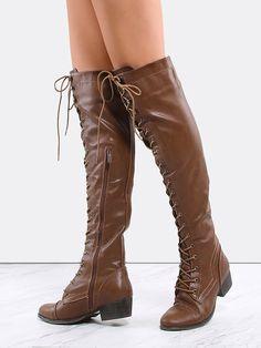#AdoreWe #SheIn Boots - SheIn Lace Up Combat Knee Boots TAN - AdoreWe.com