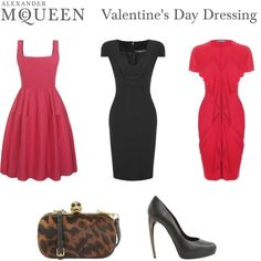 My favorite is the Raspberry Silk Faille Cocktail Dress (furthest to the left).  It is very feminine and flattering.  From Alexander McQueen Valentine's Day Dressing, created by alexandermcqueen.polyvore.com