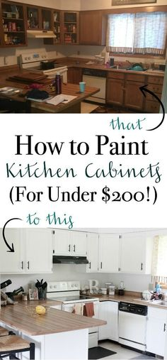 A step-by-step guide to painting your kitchen cabinets! Here's How to Paint Kitchen Cabinets (For Under $200!) | www.mamabearbliss.com