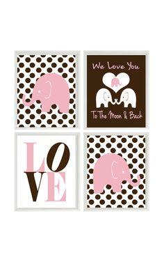 Elephant Nursery Art - Polka Dots Baby Girl Nursery Prints Brown Pink Wall Art  Love -  To The Moon And Back - Nursery Decor Quote - 4 8x10 on Etsy, $50.00