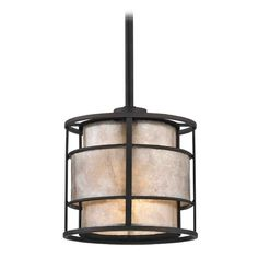 Design Classics Lighting Mini-Pendant Light with Beige / Cream Mica Shade | 1682 TB | Destination Lighting